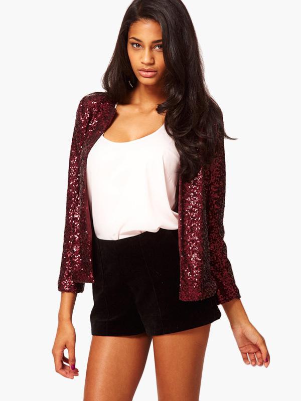 Sequin Top Women Black Jacket Long Sleeve Spring Women Coat Cheap clothes, free shipping worldwide
