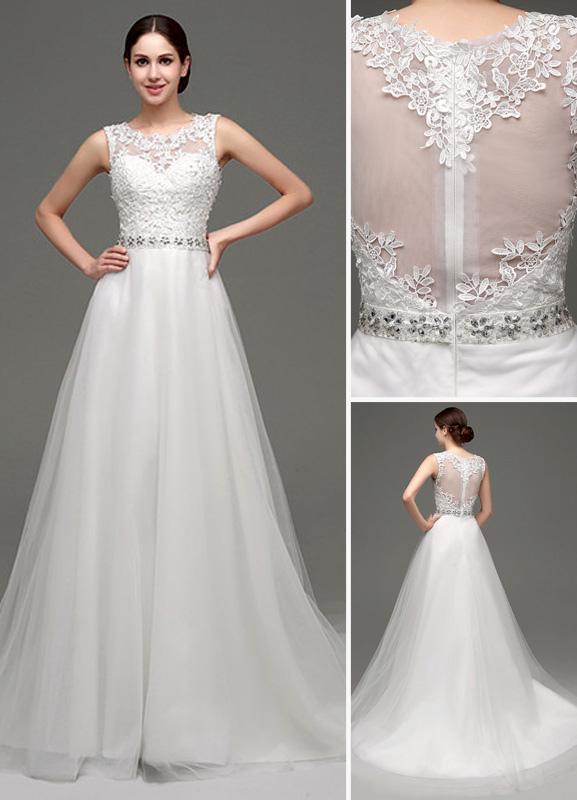 Buy Tulle A-line Lace Bodice Illusion Back Chapel Train Wedding Dress With Rhinestone Belt for $183.99 in Milanoo store