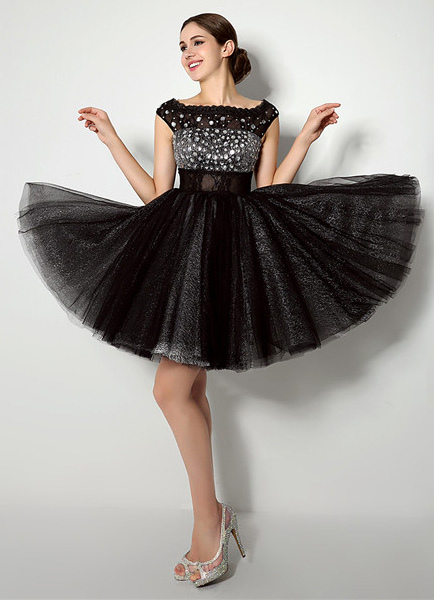 Black Tulle Off the Shoulder Dress with Spectacular Beading