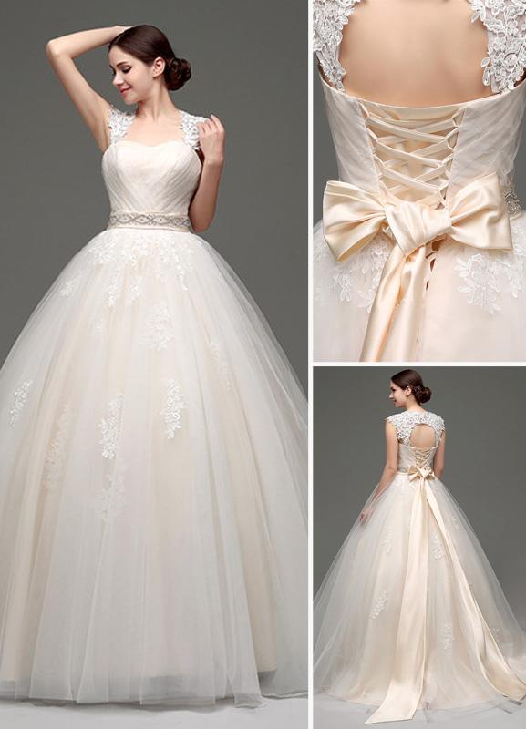 Tulle Cap Sleeves Keyhole Back Princess Wedding Dress With Bow And Rhinestone Sash No