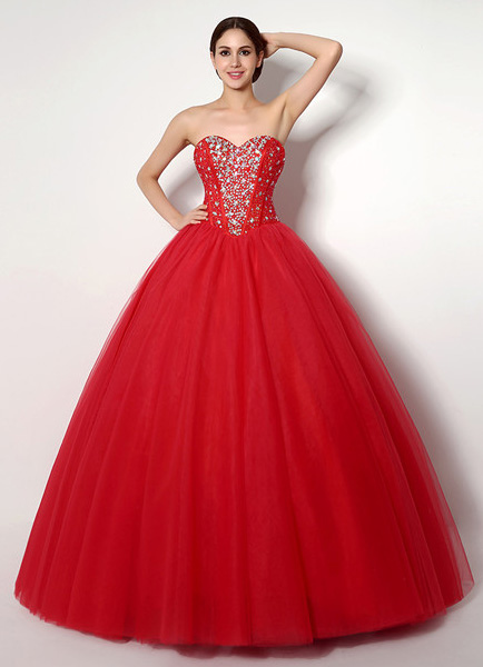 Red Tulle Quinceanera Dress with Spectacular Beading