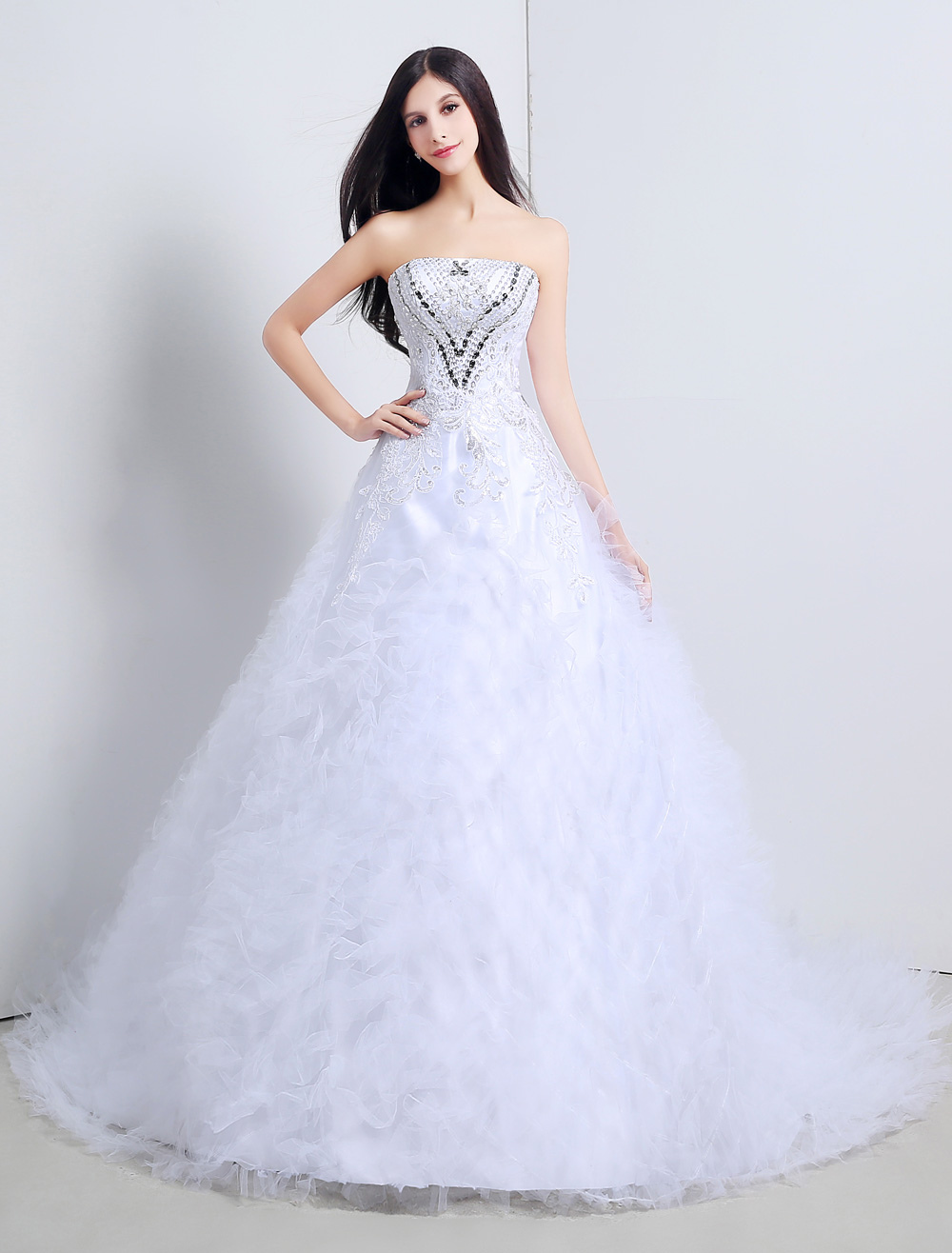 Satin Strapless Crystal Beaded Cathedral Train Wedding Dress With Ruffles