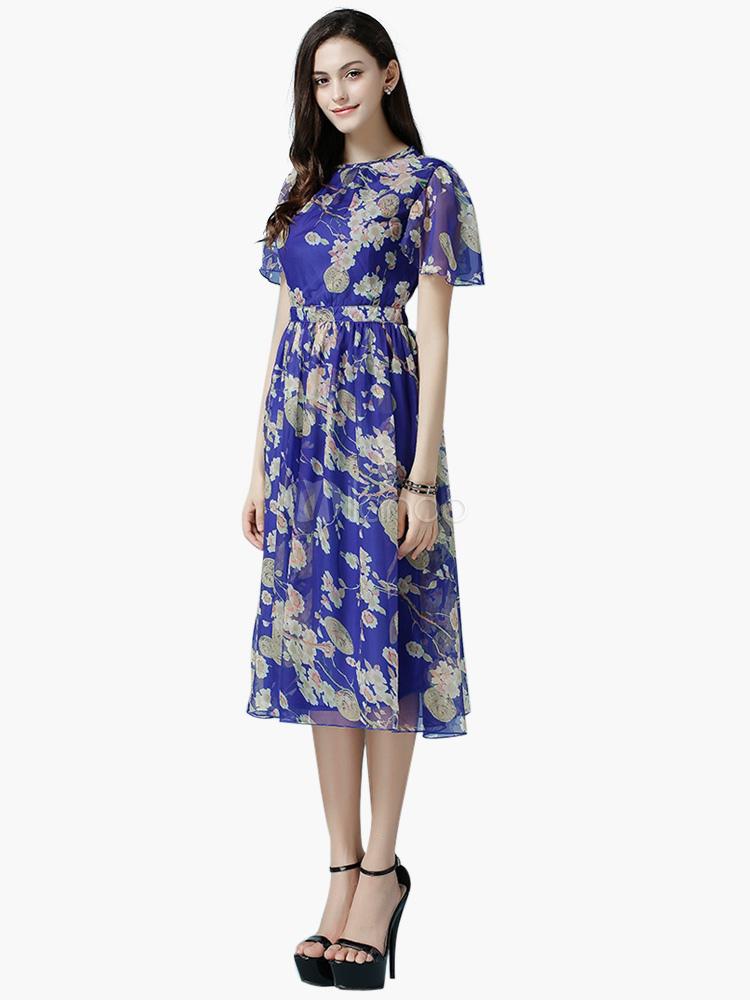 robe longue bleu chiffon fleuri pliss. Black Bedroom Furniture Sets. Home Design Ideas