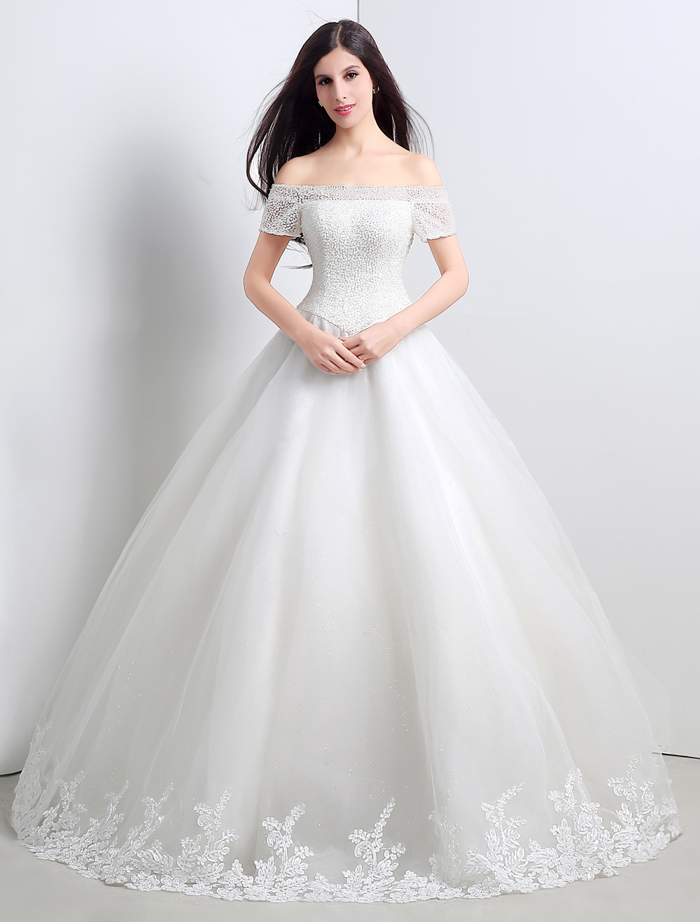 Ball Gown/Princess Tulle Crystal Off The Shoulder Floor-length Wedding Dress