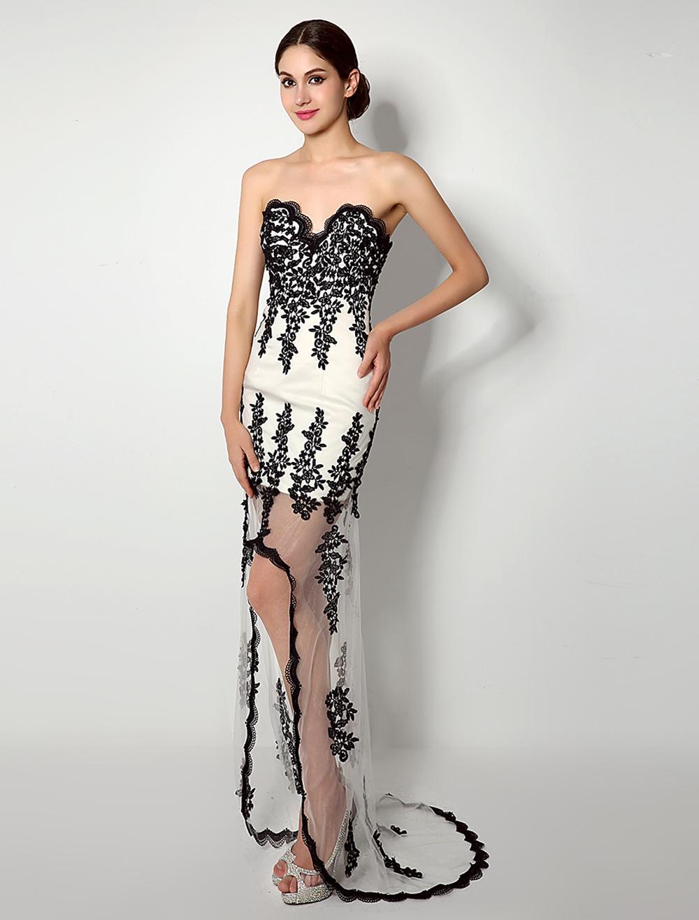 High-Low weißes Kleid mit schwarzer Spitze und schiere-Rock ...