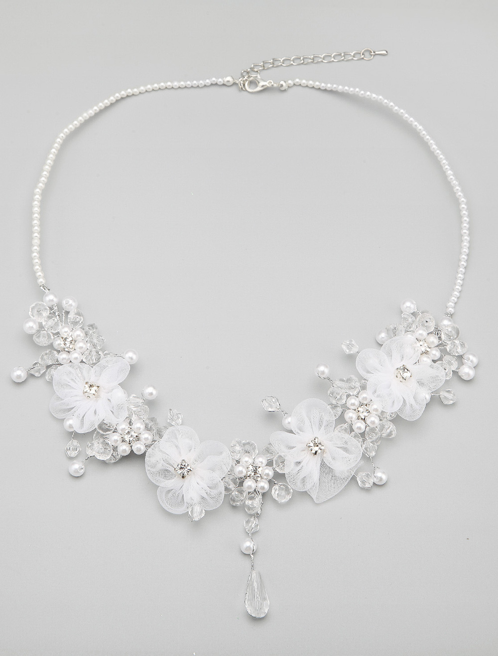 Handmade Pearl And Floral Necklace For Bride