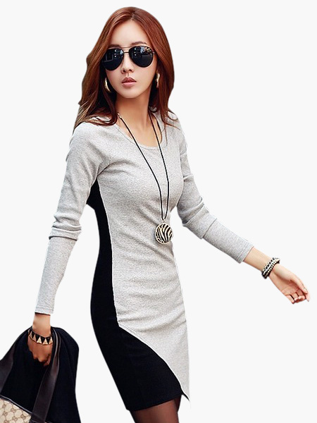 Long Sleeves Color Blcck Stylish Woman's Mini Dress Cheap clothes, free shipping worldwide