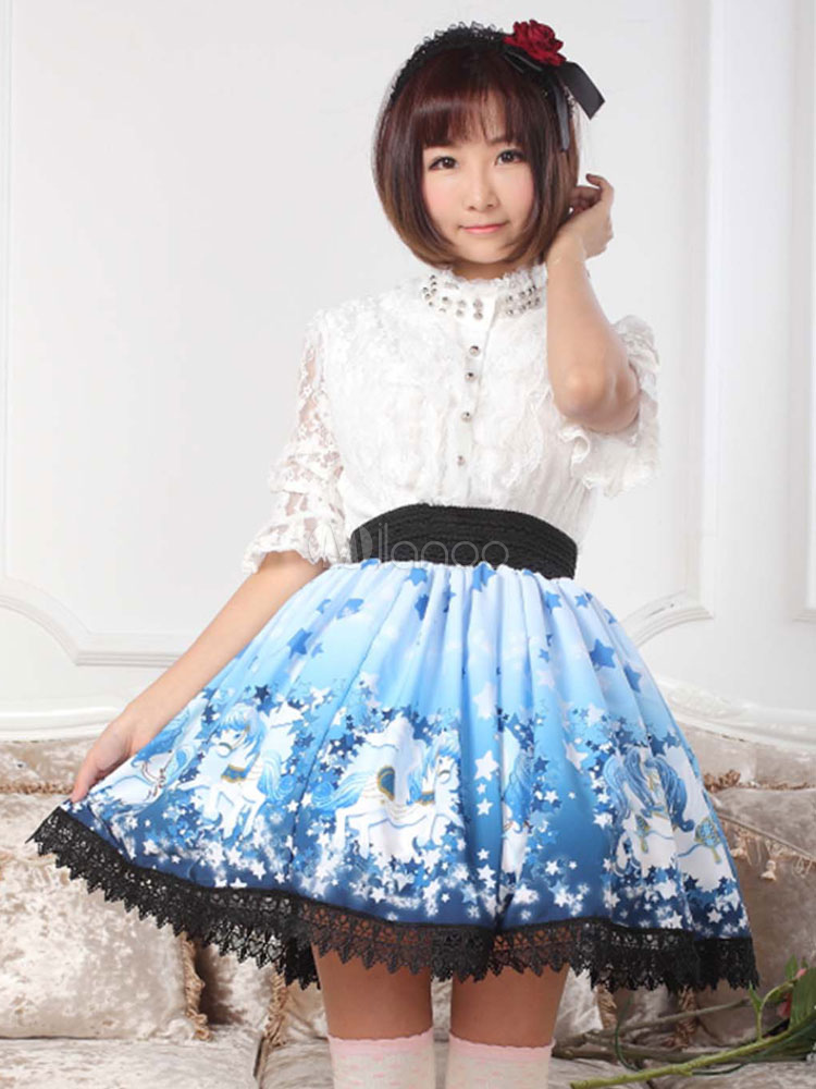 Sweet Lolita Skirt in Blue with Horses Print
