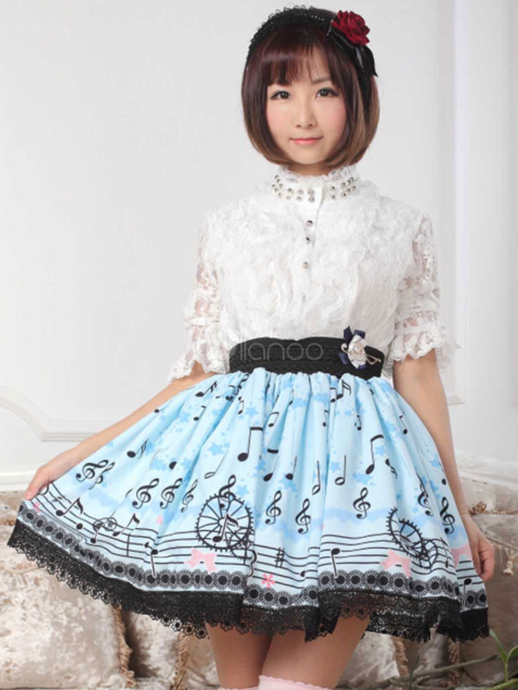 Sweet Lolita Skirt in Lace with Notes Print