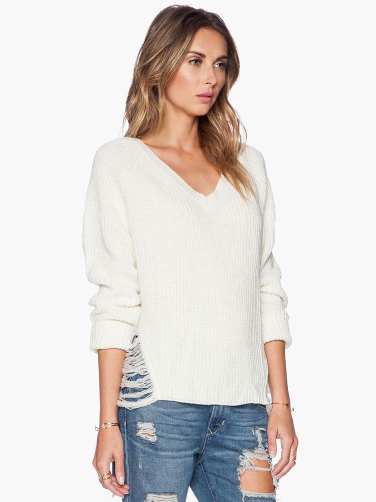 new concept d3b36 c4bbe Schicke weiße V-Ausschnitt lange Ärmel Acryl Damen Pullover