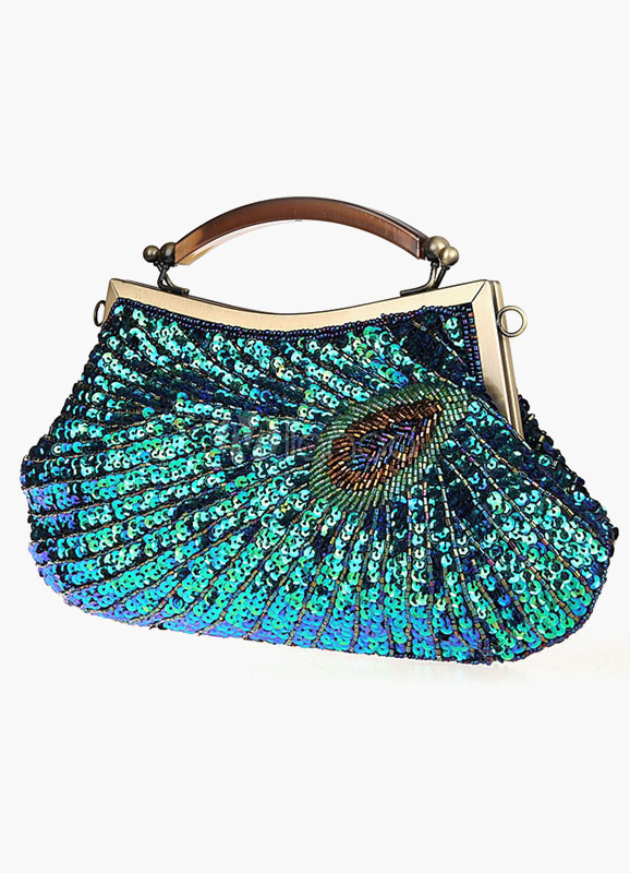 Peacock Feather Pattern Evening Bag With Sequins
