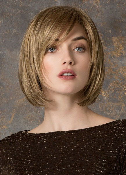 14-Inch Deep Flaxen Bobs Side-Swept Chic Women's Short Wig In Heat-Resistant Fiber