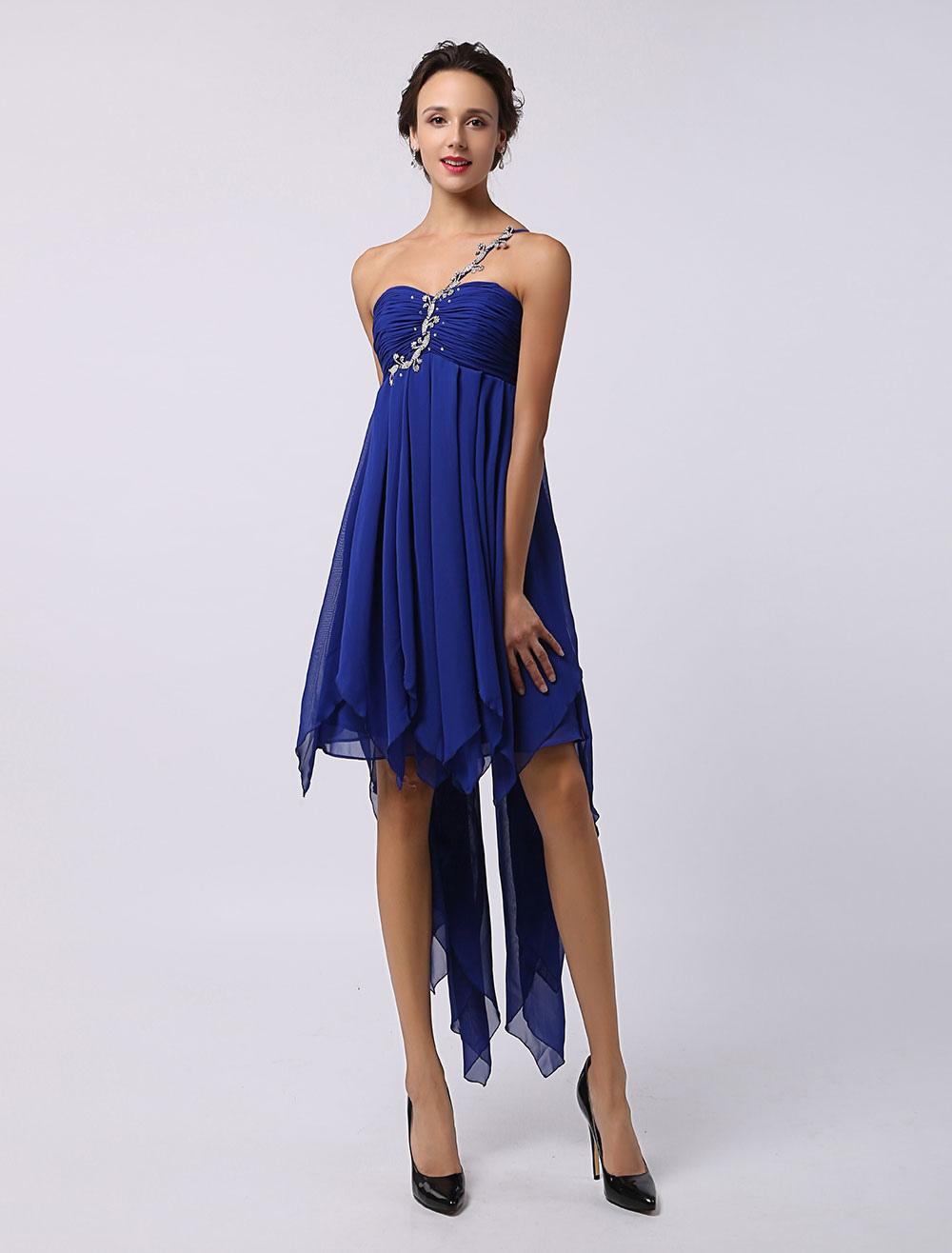 f041799e37cb Blue Prom Dress 2019 Short Chiffon Beading Homecoming Dress Royal ...