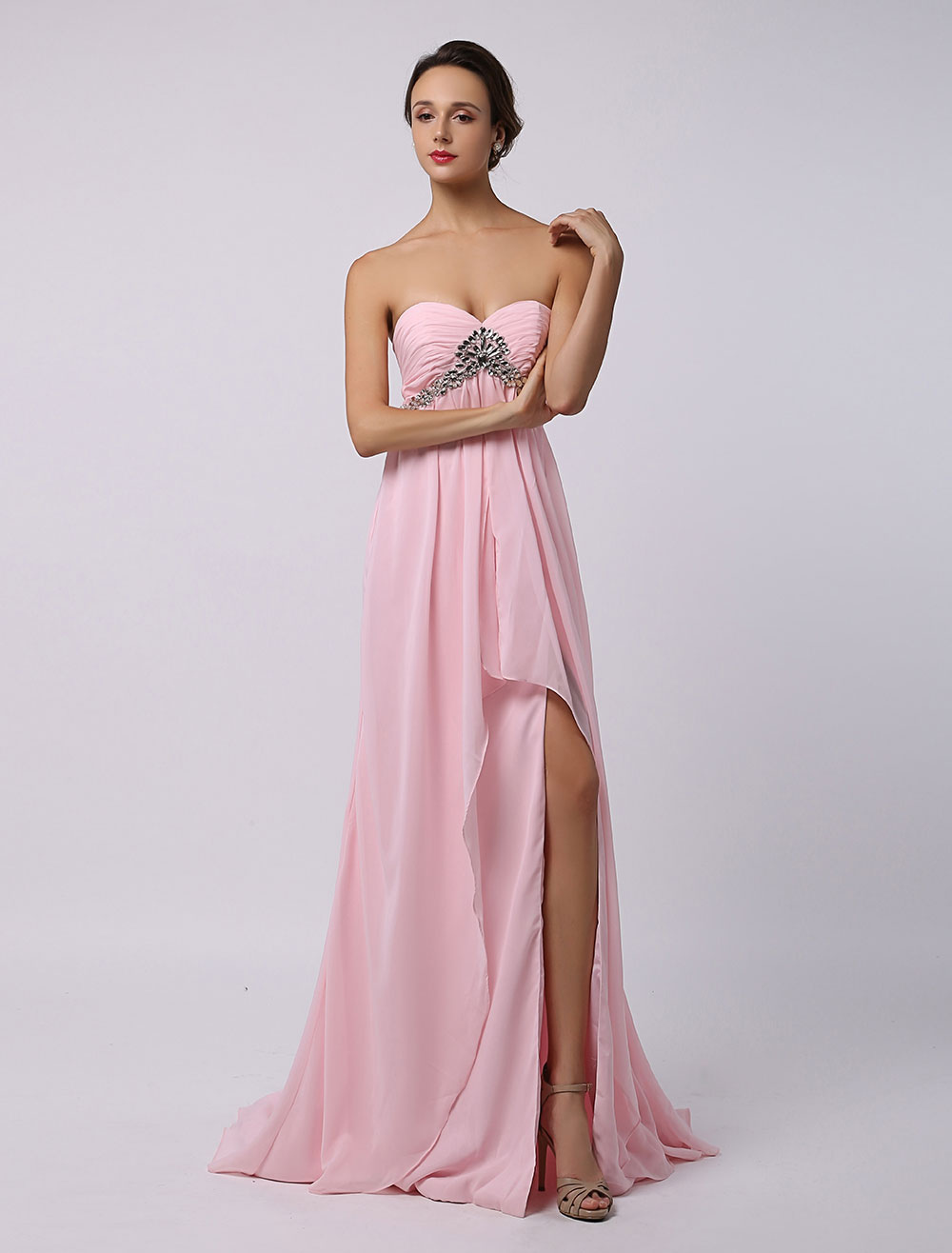Buy Pink Chiffon High Low Prom Dress with Open Back and Sweep Train for $119.99 in Milanoo store