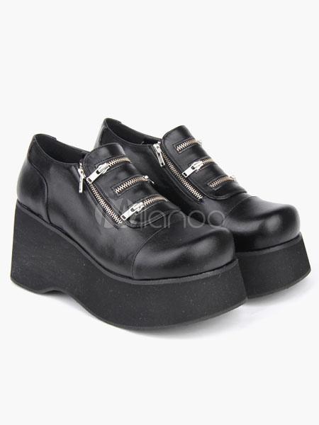 Milanoo / Gothic Black Lolita Shoes Platform Shoes Zippers Designed