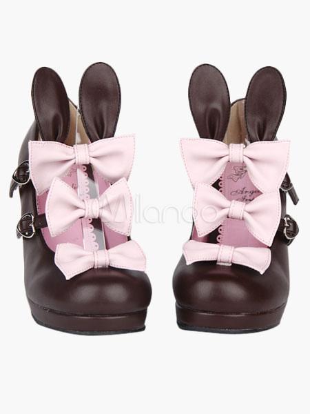 Matte Coffee Brown Lolita Kitten Heels Shoes Bunny Ears Bows Heart Shape Buckles