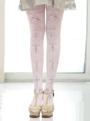 Fantastic Print Lilac Lolita Socks