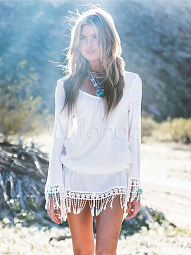 Milanoo / White Tunic With Fringe and Long Sleeves