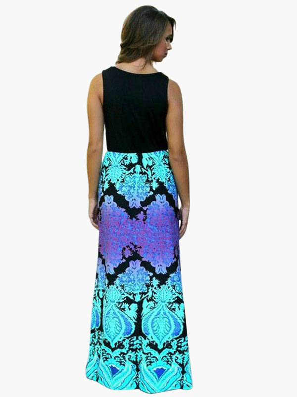 robe longue multicolore impression. Black Bedroom Furniture Sets. Home Design Ideas