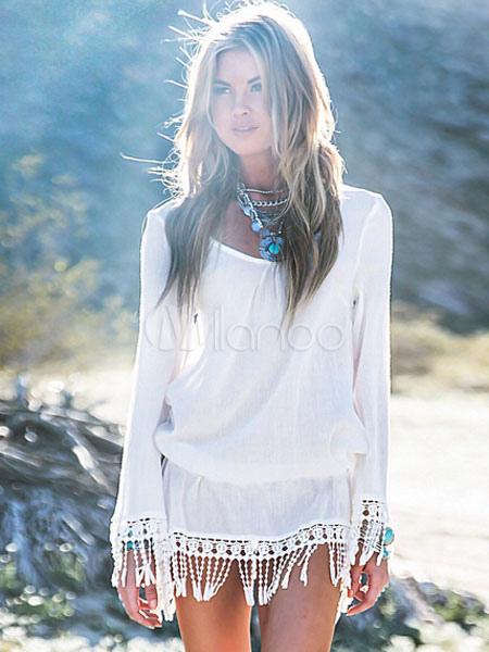 Sommerkleid Kurz Tdchrsq Mit Fransen Kleid Boho Weißes 2YeWI9EDH