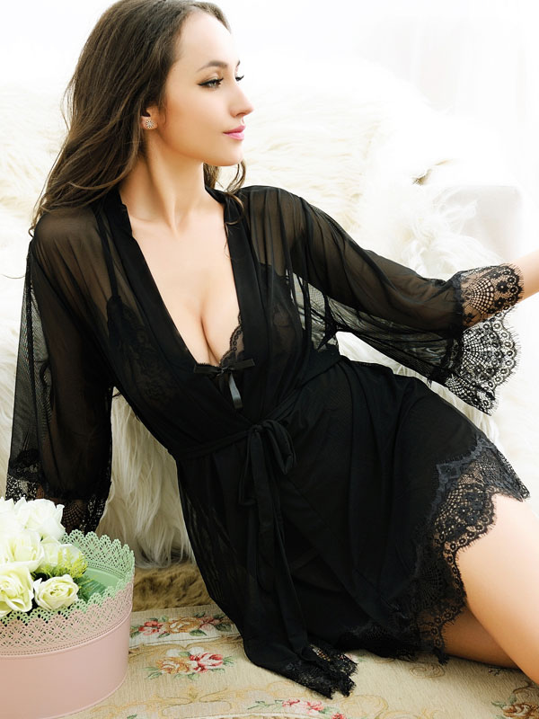Buy Attractive Lace Semi-Sheer Polyester Women's Sexy Dress for $19.99 in Milanoo store