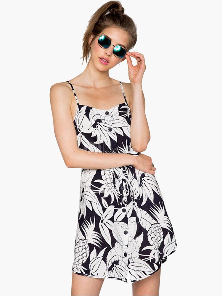 Straps  Leaf Pattern  Summer Dress