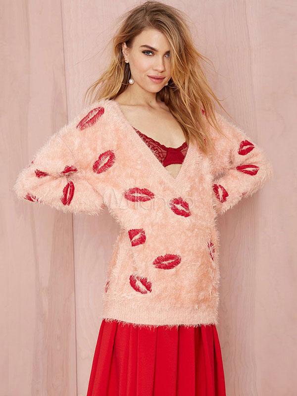 Moda vestido rosa beso de gran tamaño suéter del suéter de las ...