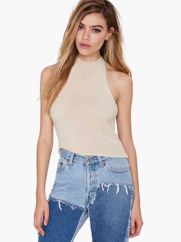 Halter Sleeveless Backless Pullover