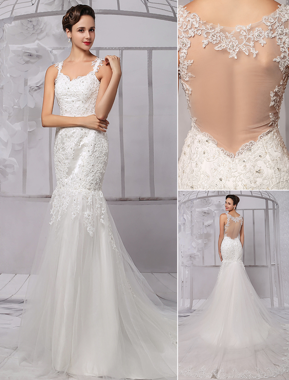 Luxury Lace Sheer Back Tulle Mermaid Spaghetti Straps Wedding Dresses With Detachable Train Milanoo