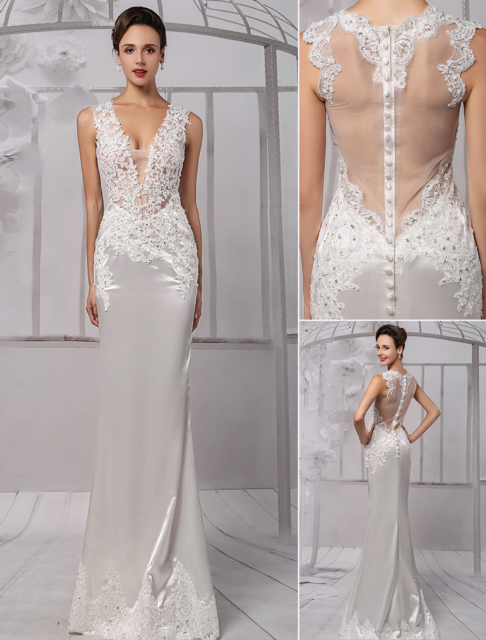 Sexy Lace Deep V-Neck Beaded Sheath/Column Illusion Back Bridal Gown Milanoo