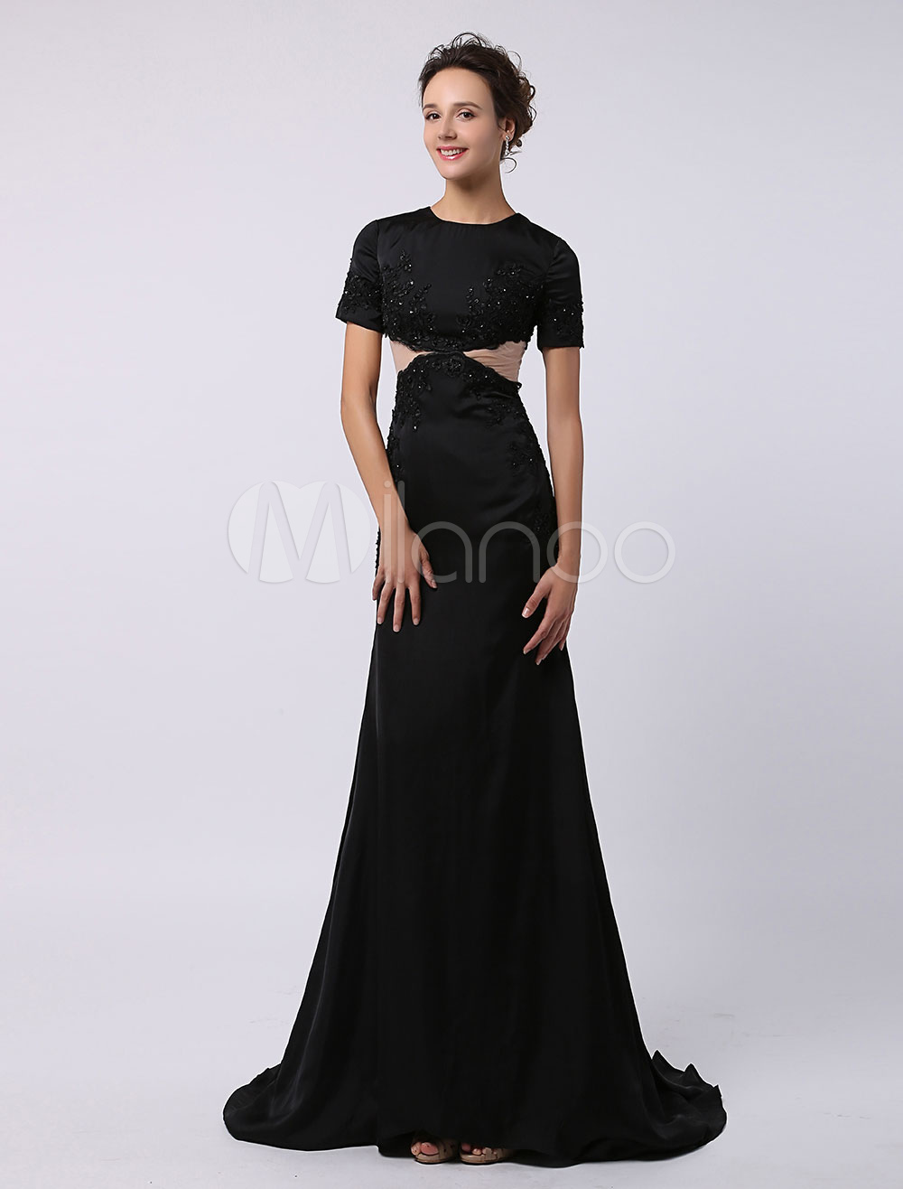 Black Lace Applique Dress with Cut Out at Waist and Chapel Train Milanoo