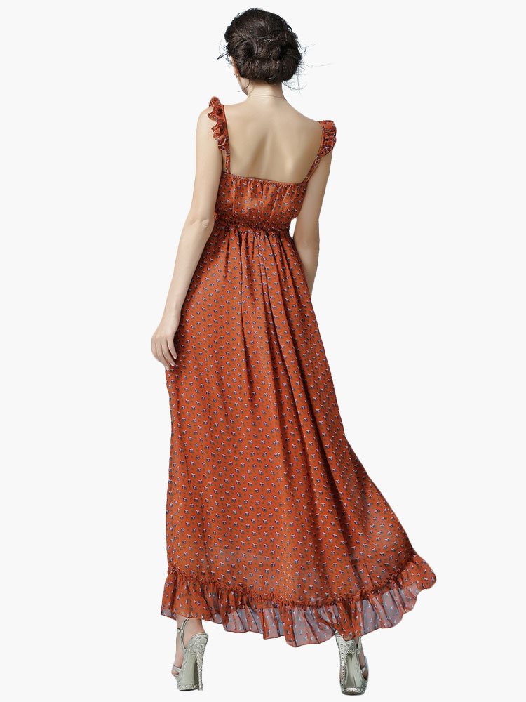 robe longue marron en chiffon pliss. Black Bedroom Furniture Sets. Home Design Ideas