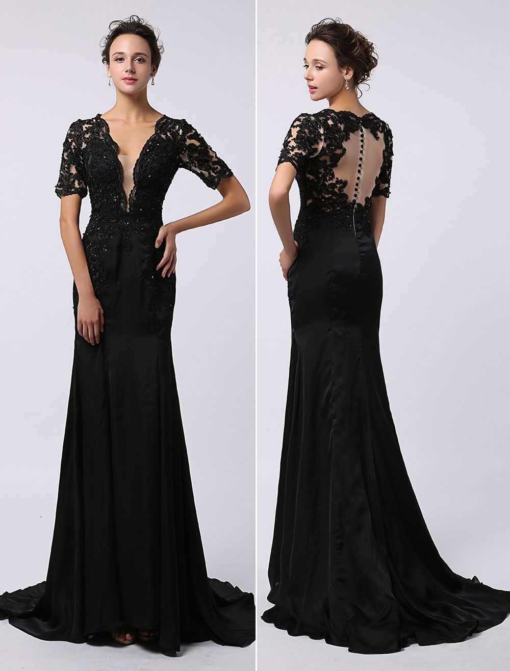 Black Prom Dresses 2018 Long Backless Evening Dress Illusion Lace Applique Deep V Neck Short Sleeves Keyhole Buttons Back Court Train Milanoo