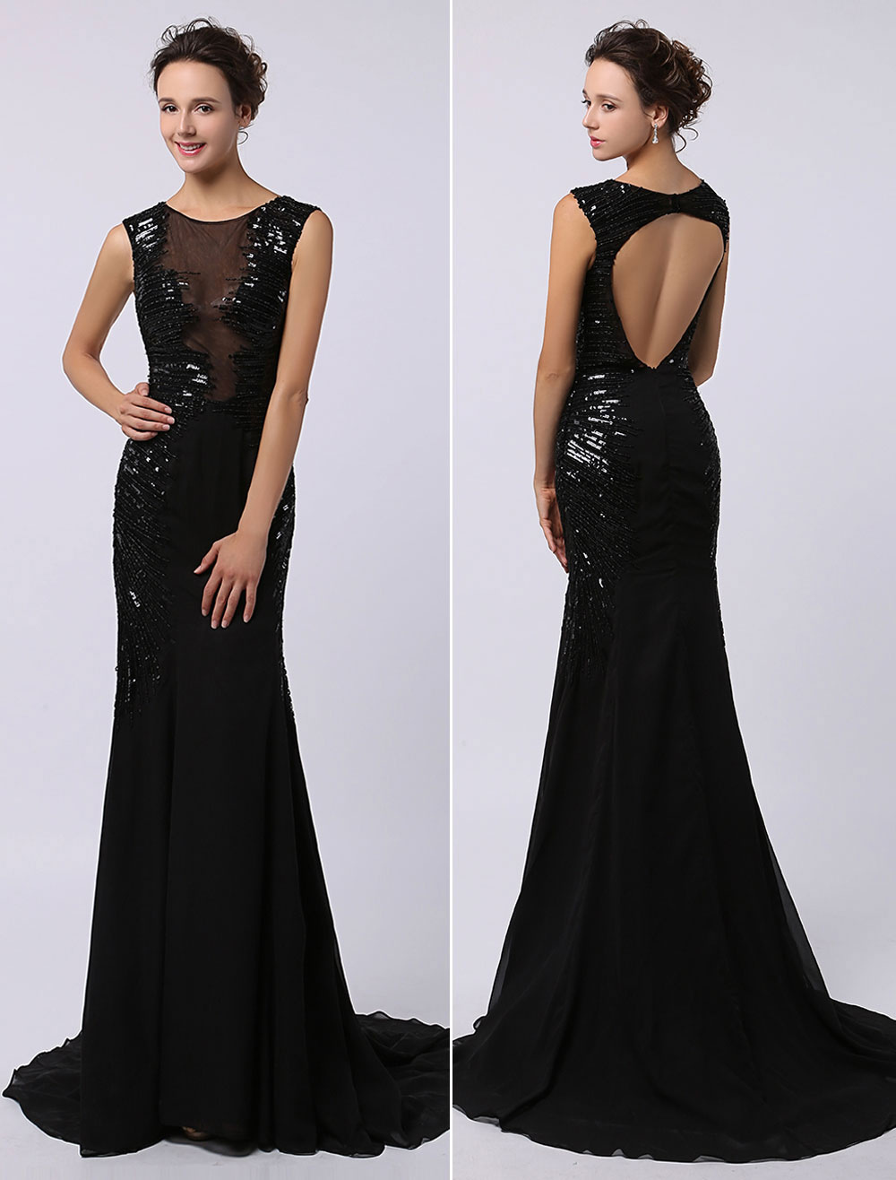Black Sequined Dress with Look Through Bodice Keyhole Back and subtle Train Milanoo