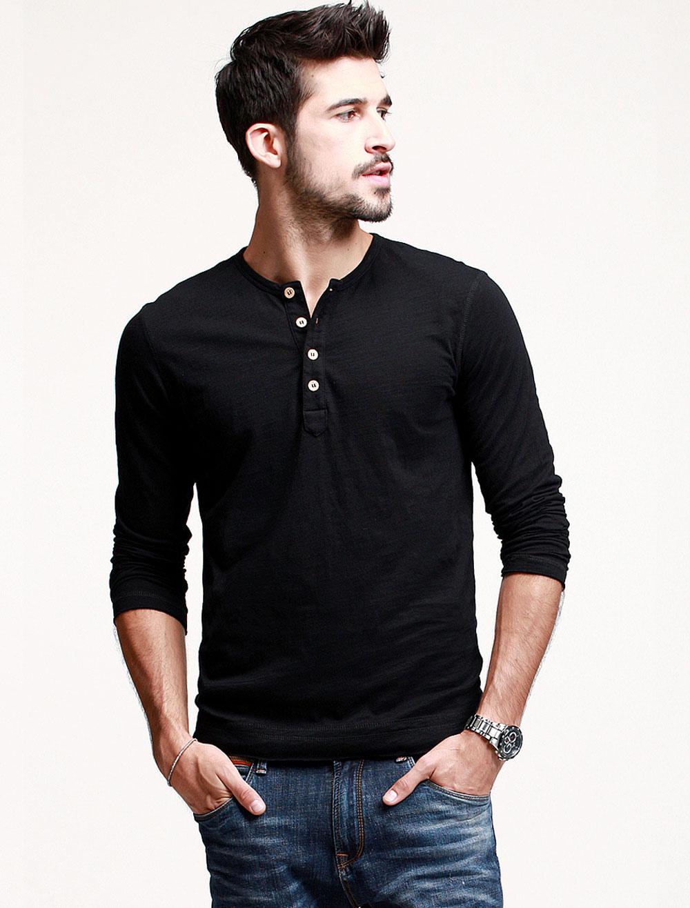 2223a324ebb7 Camiseta cuello redondo botones manga larga algodón diario fresco de los  hombres