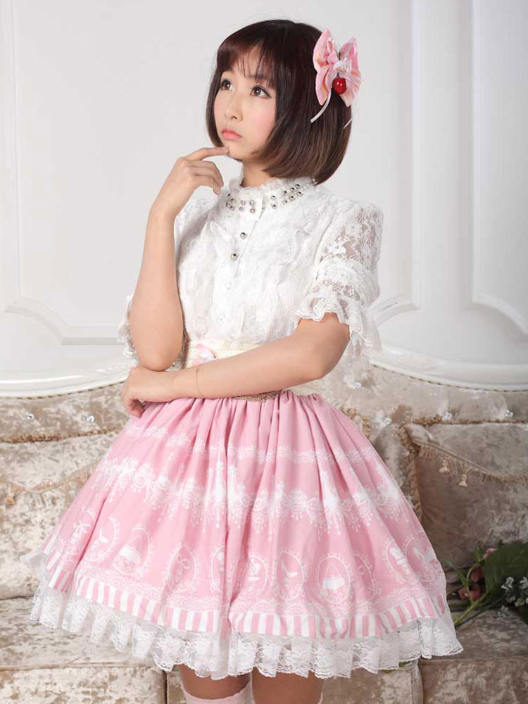 Buy Beautiful Pink Lace Printed Polyester Lolita Dress for $36.99 in Milanoo store
