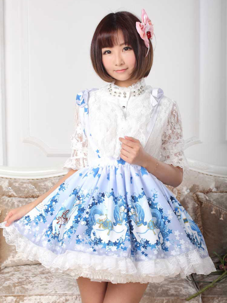 Cute Blue Lace Printed Polyester Lolita Dress