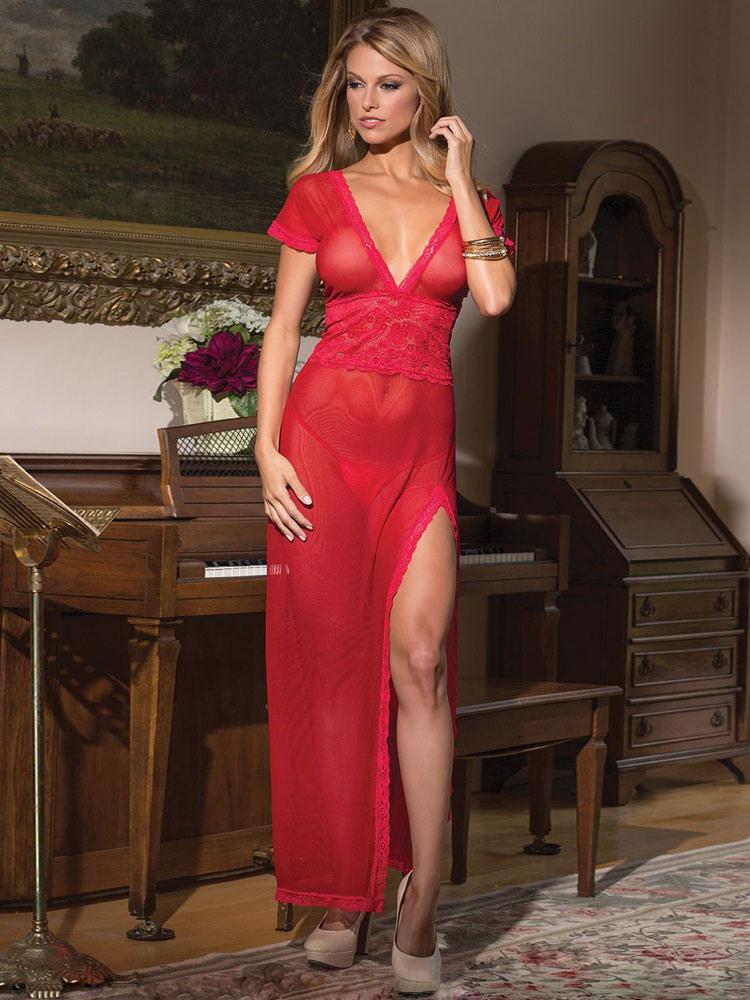 Split der Frau Sexy Kleid Spitze - Milanoo.com