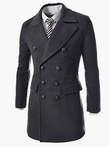 Black Elegant Long Sleeves Men's Coat