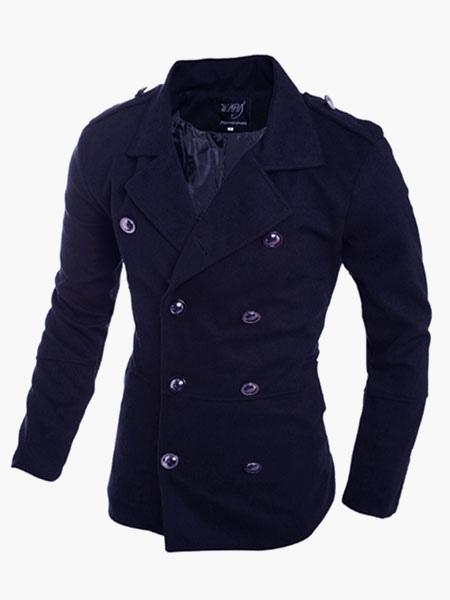Buy Dark Navy Double-Breasted Coat For Men for $45.99 in Milanoo store