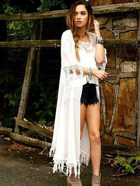 Boho Maxi Cardigan With Tassel Cheap clothes, free shipping worldwide