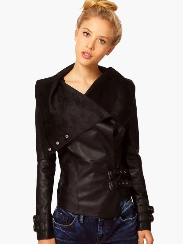hot sale online bd004 e0355 Collo alto giacca di pelle PU