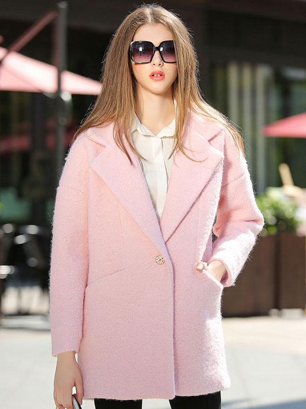 rosa ausbreitung neck langarm wolle blend damen mantel. Black Bedroom Furniture Sets. Home Design Ideas