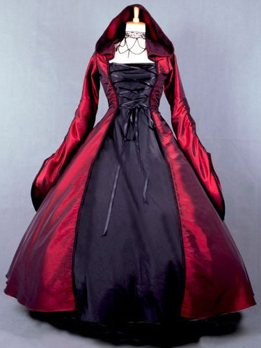 Salem Witch Costume Victorian Poplin Long Sleeves Witch Dress Costume Halloween