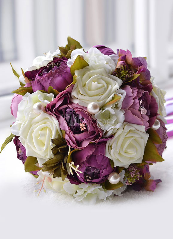 Vintage Peony Bridal Bouquet Silk Wedding Flowers With Pearls