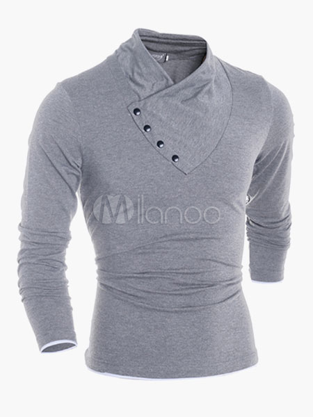 Buy Long Sleeves V-Neck Cotton Handsome Men's Tee Shirt for $19.79 in Milanoo store