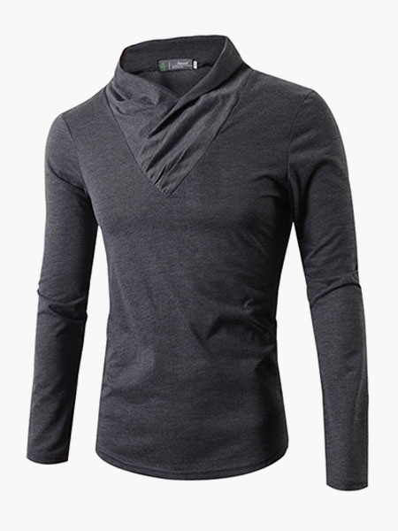 Buy Trendy Long Sleeves V-Neck Cotton T-Shirt For Man for $19.79 in Milanoo store