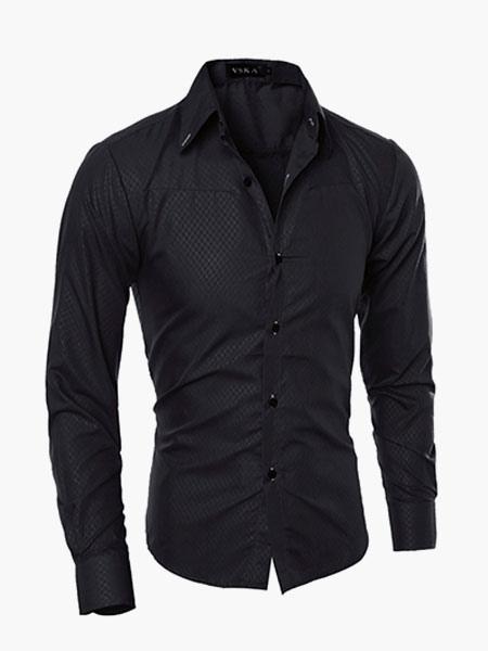 Men Casual Shirt Black Stand Collar Long Sleeve Cotton Shirt