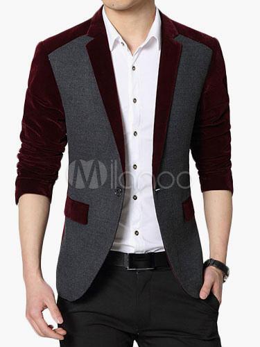 Blazer For Men Color Block Suit Jacket Notch Collar Pocket Casual Blazer