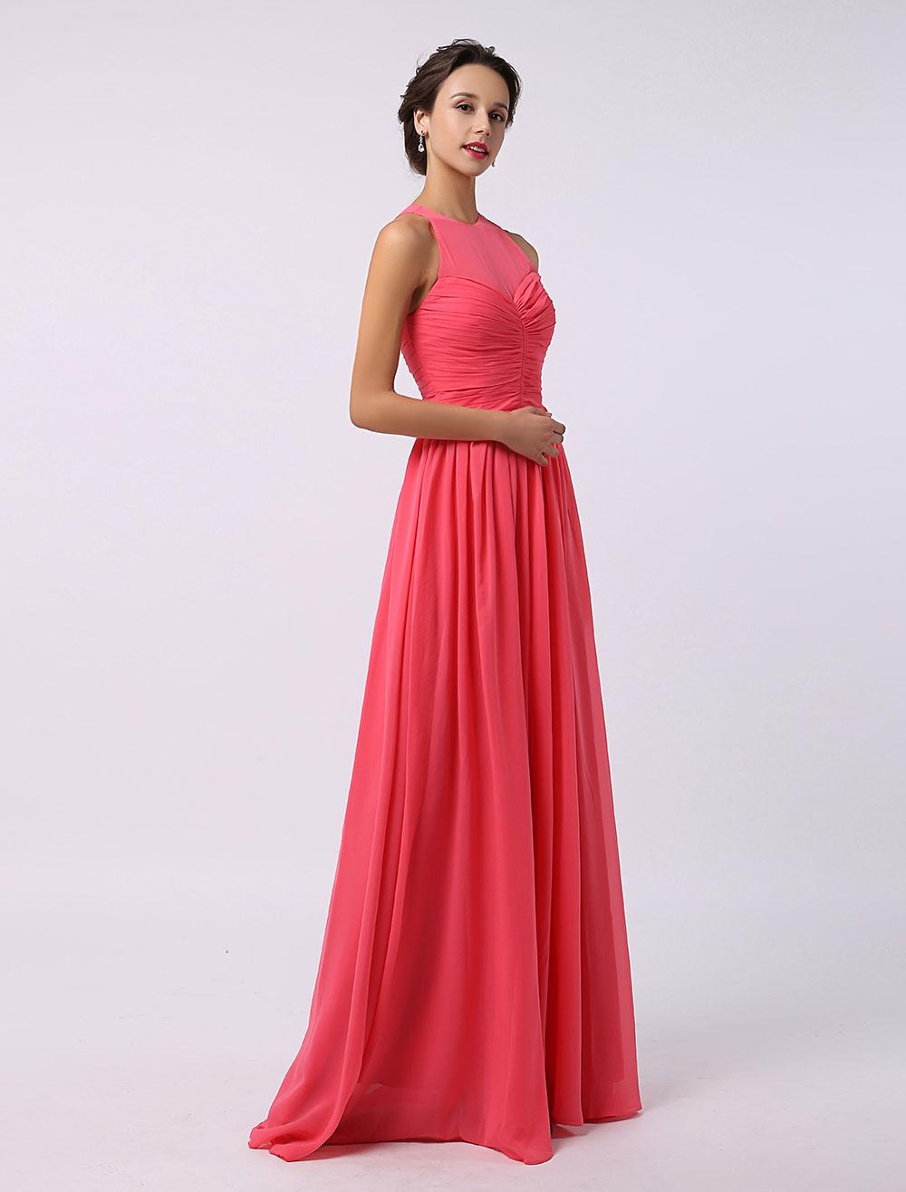 A-Line Illusion Neckline Floor-Length Chiffon Bridesmaid Dress Milanoo